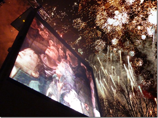 Salisbury Xmas video screen and fireworks