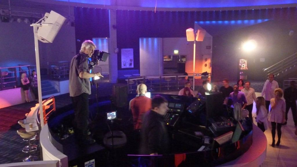 Phil filming in night club